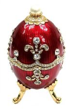 Red Faberge Egg Trinket Box Easter Egg Jewelry Box with Crystals, Gold Tone