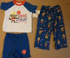 "BOYS ""BOYS AT PLAY"" 3 pc Pajamas Sleepwear Size 2T New with tags"