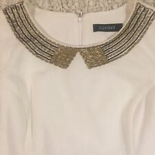 Ellen Tracy Beaded Collar Shift Dress White Women's Work Career Wear Size 12