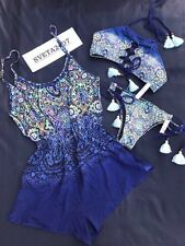 NWT Victoria's Secret 3pc Set~High Neck Padded Halter~Itsy~Romper~Paisley~Sz S