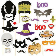 24PCS Photo Booth DIY Mask Costume Stick Props Halloween Party Activities