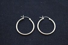 "2mm X 25mm 1"" Plain Polished Round Hoop Earrings Real 925 Sterling Silver"