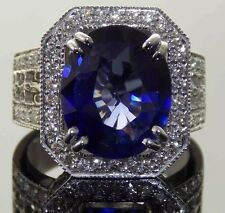 10.01ct Natural VS Blue Sapphire Diamond 14k White Gold Engagement Ring