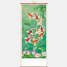 CHINESE WALL HANGING SCROLL - NINE CARP FISH - 82cm LENGTH - FREE UK P&P