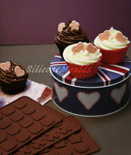 Set of 3 Moulds - Hearts Vintage Flowers Chocolate Candy Silicone Cake Button