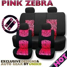 Mesh Animal Seat Cover Set Pink Zebra Foam Padded 4 Headrests Steering Wheel CS1