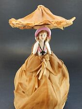 Half Doll on Wire Form with Umbrella - Made in Japan - Woman holding Pink Hat