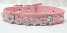 New Personalized Pet Dog Puppy Collars Rhinestone Letter Name Charms S M L XL
