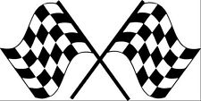 Twin Chequered Racing Flags - vinyl car, stickers, decals, graphic wall art