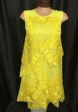 Christian Dior Dress Canary Yellow Embroidered Silk Layers Size 2 NWT $11000