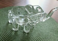 Glass Elephant Lucky Trunk Up Trinkets or Candy Dish