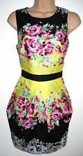 SIZE 12 14 FLORAL SUMMER DRESS COCKTAIL PARTY TULIP SKIRT LINED # US 10 EU 42