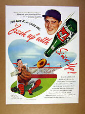 1946 7-Up 7Up Seven-Up Soda baseball catcher green bottle art vintage print Ad