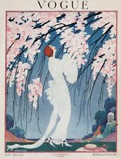 Vintage Mag Cover on silk VOGUE Lady in White Gown garden of Cherry Blossoms1919
