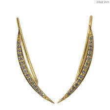 Solid 18 K Yellow Gold Pave Diamond CRESCENT MOON Mini Ear Cuff Earrings Jewelry