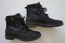 NWOB UGG Cecile 1007999 black leather waterproof lace up duck boots women size 7