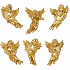 Set Of 6 Gold Angel Ornaments Christmas Tree Hanging Decorations Baubles 6 cm