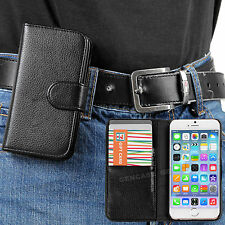 Black Classic PU Leather Wallet Case with Belt Clip for Apple iPhone 6 PLUS 5.5""