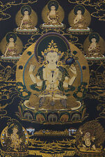 "32"" BROCADED SCROLL TIBET THANGKA: VAJRAPANI MANJUSHRI CHENREZIG Avalokiteswara"