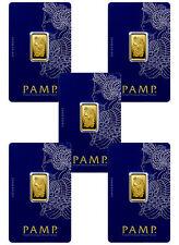 Lot of 5 - PAMP Suisse 5 gram .9999 Gold Bars - Sealed w/Assay Cert. SKU30875