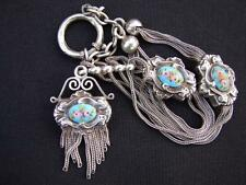 FINE ENAMEL ORNATE VICTORIAN SILVER POCKET  WATCH CHAIN