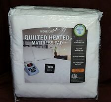 "Biddeford Heated White Mattress Pad Electric Auto Off - Twin 39"" X 75"" New"