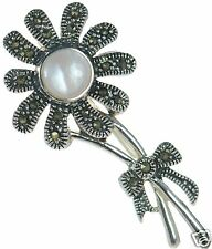 Solid 925 Sterling Silver Marcasite & Pink Mother of Pearl Flower Pin Brooch '