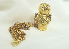 Flower Motif Perfume Bottle Pendant Necklace Gold Tone Bottle is Empty