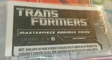Transformers MASTERPIECE RODIMUS PRIME INSTRUCTION BOOKLET ONLY AUTHENTIC