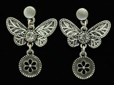 Dangle clear crystal Butterfly gray enamel round flower silver stud earrings E41