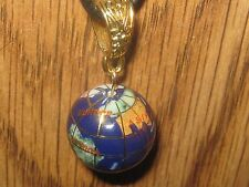GLOBAL  LAPIS INLAY GLOBE GEMSTONE GOLD TONE AGATE JASPER PENDANT NECKLACE
