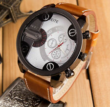 Big Dial Daddy Men Stylish:Brown Leather WristWatch Gents Boys Watch Gift