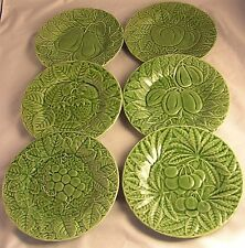 "6~BORDALLO PINHEIRO 8"" SALAD PLATES Green MAJOLICA Fruit Patterns"