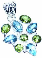 Blue Topaz + green Peridot in Sterling Silver Pendant Multi Gemstone 925 Jewelry