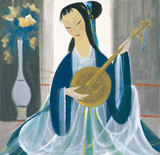 Oil painting Ladies play Ruan diagram - Young Chinese girl playing