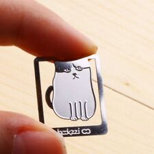 Mini Metal Silver Color Bookmark Kitty Cat My Cute Pet Index Clip Thin