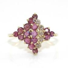10K Yellow Gold Natural Diamond Purple Pink Topaz Cluster Ring Size 8.25