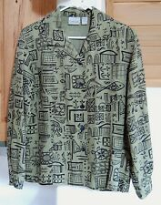 Chico's silk and linen blend long sleeved blouse size 1 - moss green and black