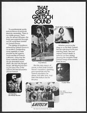"""1977 Rolling Stones Charlie Watts photo """"Great Sound"""" Gretsch Drums print ad"""