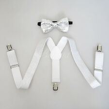 Silver Glitters Suspender and Bow Tie Set for Baby Toddler Kids Boys Girls (USA)