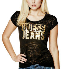 NEW Genuine GUESS Black/Gold Metallic Studded Logo T Shirt Womens Size Small