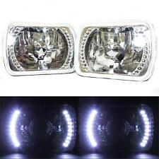 7X6 White LED Halo Halogen Crystal Clear Headlights Angel Eye Light Pair Glass