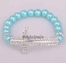 Fashion Glass Pearl&Cystal Beads Sideway Crystal Cross Elastic Bracelet Wedding