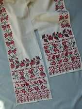 Antq hand embroidered linen panel sash pelmet textile European folk art style