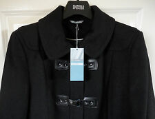 M&S Women Wool Blend Black SZ14 Midi Duffle Coat, BNWT, Was £79