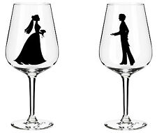 Bride and groom vinyl sticker set wine glass car decal phone wedding engagement