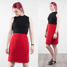 VINTAGE HIGH WAIST BRIGHT RED PENCIL SKIRT KNEE LENGTH FITTED PIN UP STYLE 10