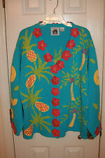 HSN Hand Knits by Storeybook Knits Sweater 1X Tropical Pineapple Palm Tree Blue