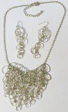 parure collier boucles d'oreilles percée bijou rétro couleur argent * 5073