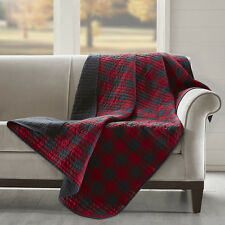 Cozy 100% Cotton Red Gingham Check reverse to Black Quilted Throw Blanket 50x70""